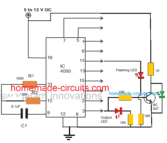 timer LED connection diagram for IC 4060