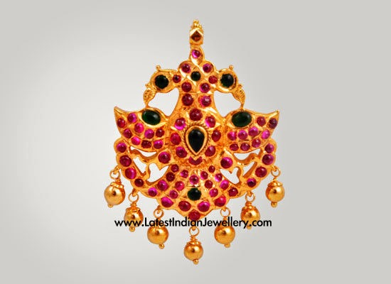 Indian ruby Gold Pendant Designs