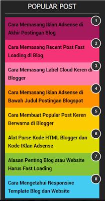 Popular Post Keren Berwarna di Blogger