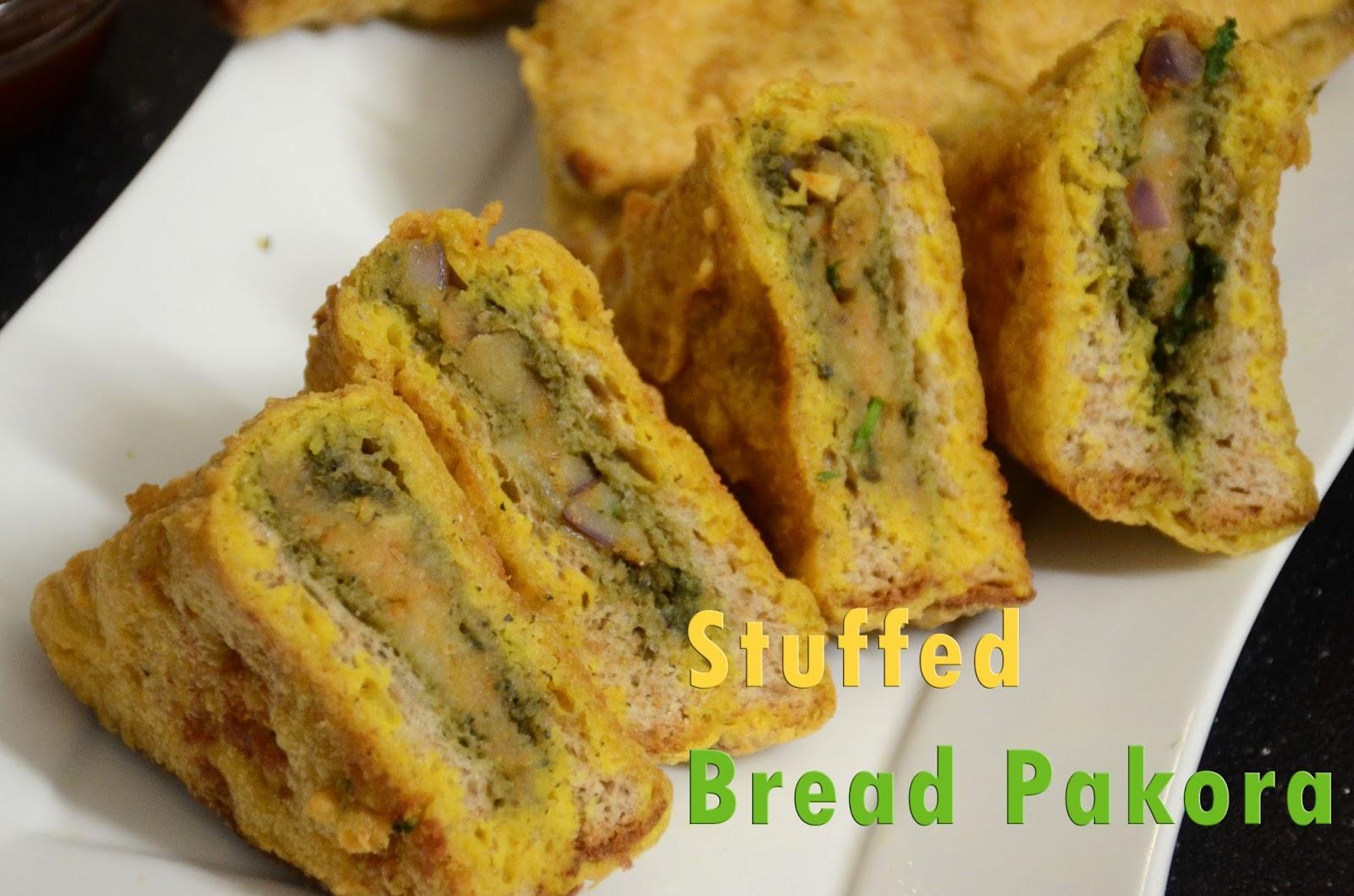Veggie Recipe House Stuffed Bread Pakora Quick Indian Snack Recipe