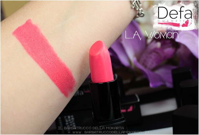 l.a. woman swatches Defa cosmetics lipstick