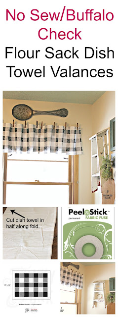 Buffalo Check Stenciled Flour Sack Dish Towel Valances #nosew #oldsignstencils #stencil #buffalocheck #farmhousekitchen