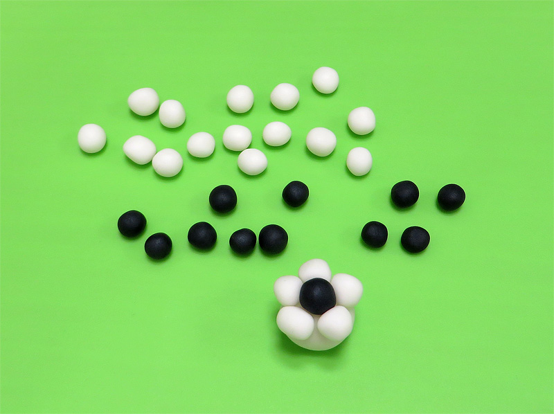 Fondant soccer ball flower close