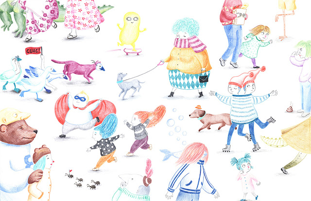 Invierno, personas abrigadas, dibujos de animales, gorro, bufanda, guantes