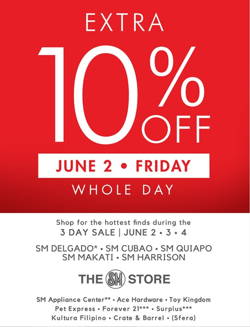 Manila Shopper: SM Stores 3-day SALE: June 2-4 2017