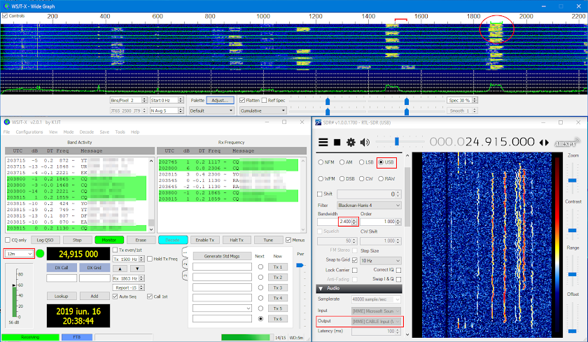 FT8 decoding with SDRSharp and WSJT-X