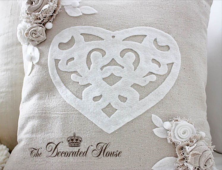 The Decorated House Valentine S Day Pillow In Neutrals