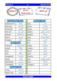 حمل مذكرة الاستاذ محمود ابو غنيمة في منهج اللغة الاتجليزية Time For English للصف الثاني الابتدائي الترم الثاني
