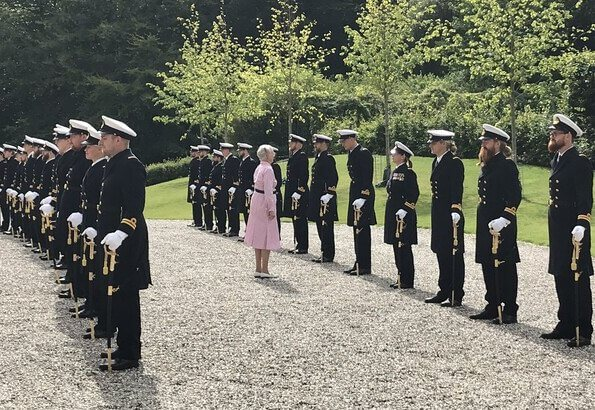 Queen Margrethe of Denmark received new officers from the Navy at Marselisborg Palace in Aarhus. Crown Princess Mary and Princess Isabella
