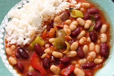 """""""Chili sin carne"""" (ohne Tofu und ohne Soja) mit Reis"""