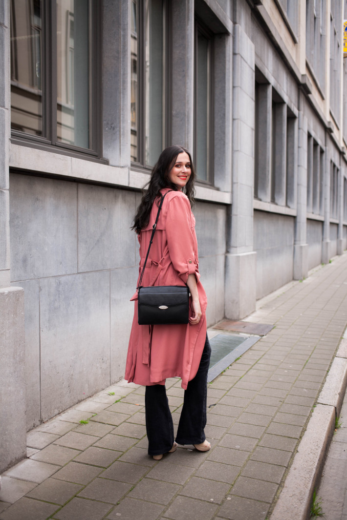 Outfit: long 70s layers in platforms, flares and pink trench