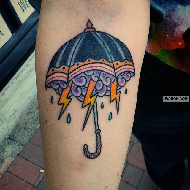 Gambar Tattoo Awan, Payung Dan Petir Kilat Terbaru Paling Keren