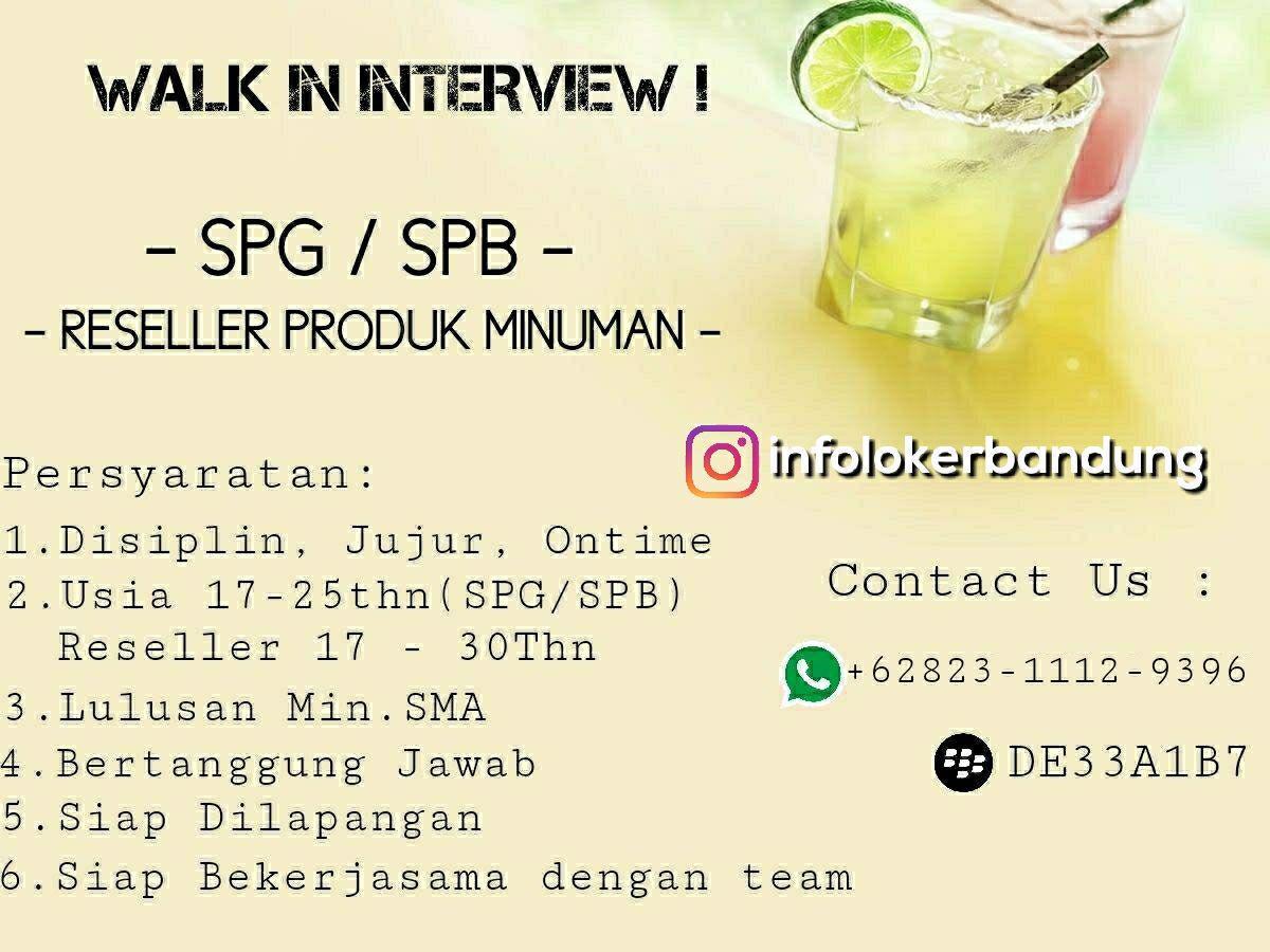Lowongan Kerja SPG SPB Produk Minuman ( Walk In Interview ) Bandung November 2017