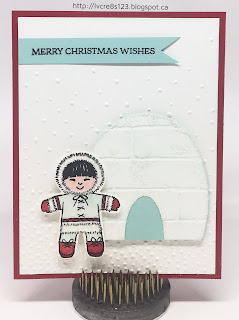 Linda Vich Creates: Exciting Stampin' Up! News and Stamp Class Projects.This card features an Eskimo cut with the Cookie Cutter Builder Punch and an igloo created with the Layering Ovals.
