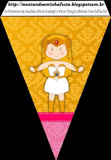 Banderines para Imprimir Gratis de She Ra Bebé.