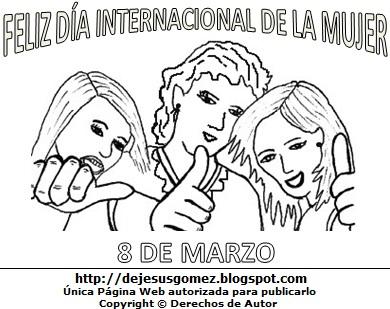 Imagen de mujeres por el Día Internacional de la Mujer para pintar colorear imprimir. Dibujo al Día Internacional de la Mujer de Jesús Gómez