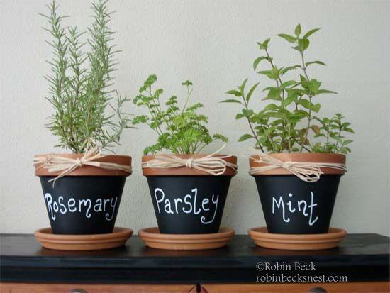 Chalkboard Herb Pots