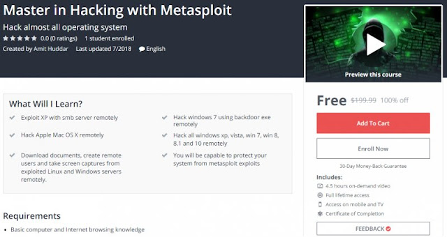 [100% Off] Master in Hacking with Metasploit| Worth 199,99$