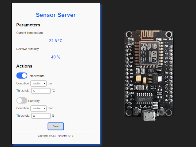 DHT22 sensor web server on ESP8266