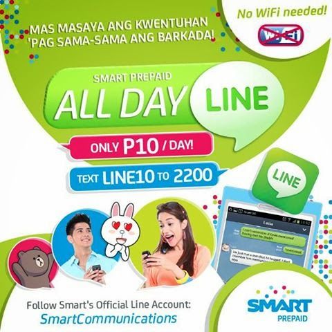 Smart LINE10 all day chat using LINE app for only 10 pesos