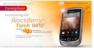 AT&T BlackBerry Torch 9810 on August 21
