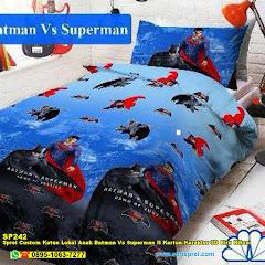 Sprei Custom Katun Lokal Anak Batman Vs Superman II Kartun Karakter 3D Biru Hitam