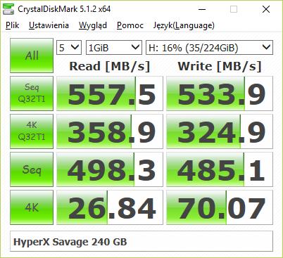 HyperX Savage 240 GB w teście CrystalDiskMark