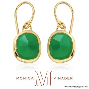 Kate Middleton wore Monica Vinader Gold Vermeil Green Onyx Siren Wire Earrings