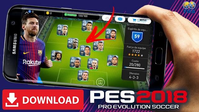 PES 2018 Mod Apk مفتوح اللاعبين و Infinite Money تحميل