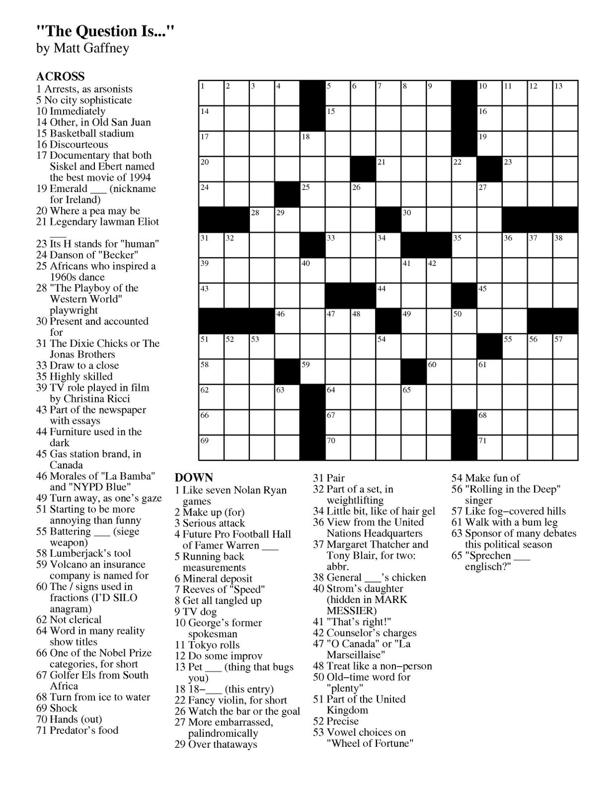 photograph regarding Printable Chicago Tribune Crossword known as Matt Gaffneys Weekly Crossword Contest: February 2012