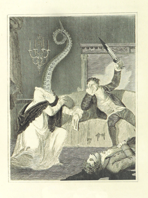 A vintage style illustration person with an octopus arm for a head getting attacked by someone with a sword.