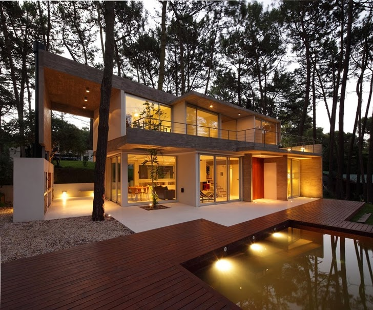 Modern Vacation House in Cariló, Argentina at night