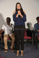 Poojita Super Cute Smile in Blue Top black Trousers at Darsakudu press meet ~ Celebrities Galleries 012.JPG