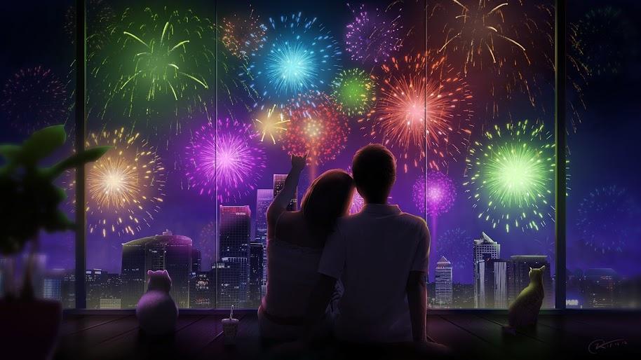 Anime, Couple, City, Night, Fireworks, 4K, #159 Wallpaper