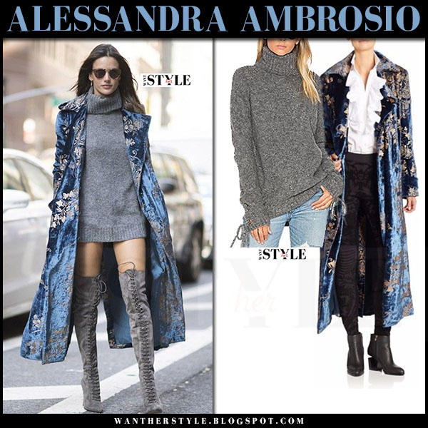 Alessandra Ambrosio in blue velvet floral print ralph lauren coat, grey sweater dress and grey suede boots le silla what she wore model style
