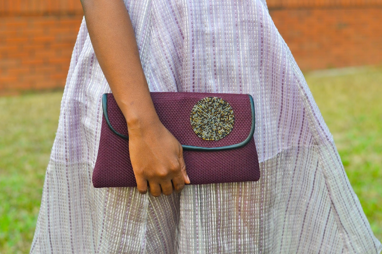 Lilac Embroidered Skirt & Plum Bag