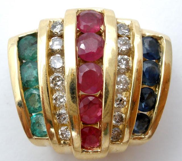 14K gold slide with gemstones