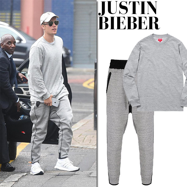 Justin Bieber in grey supreme sweatshirt, grey y3 sweatpants and white sneakers adidas ultra boost