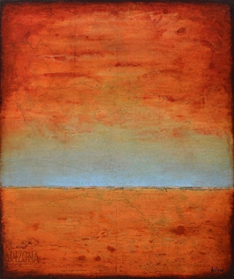 "Contemporary Abstract Landscape Painting,Map Art ""ARIZONA MINIMALIST SUNSET"" by Contemporary Artist Brian Billow"