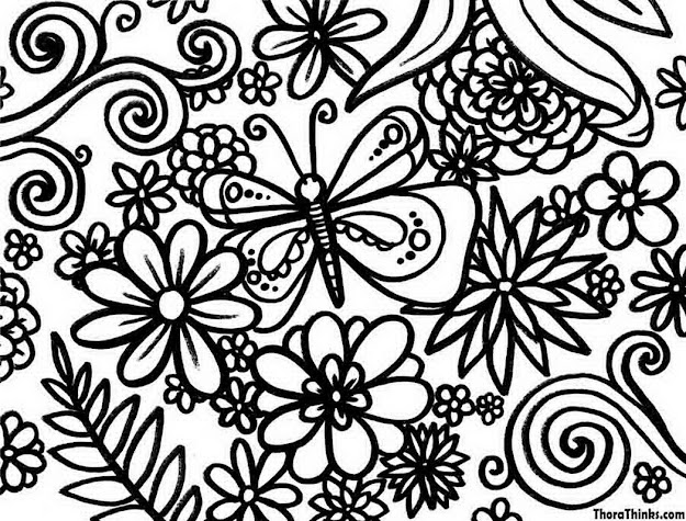 Coloring Pages Flowers In Coloring Pages Flowers And Butterflies