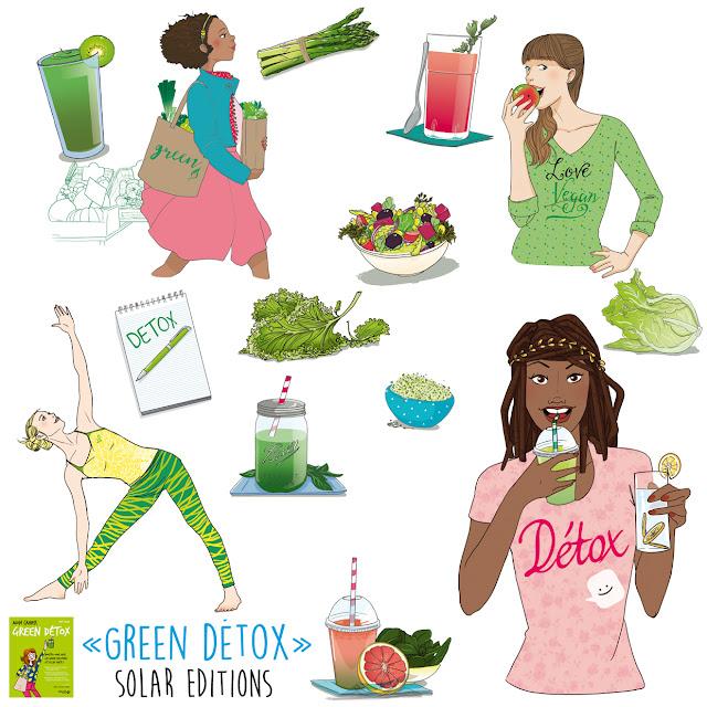 """Illustration édition Solar, Mon cahier """"green détox"""". Green smoothies et green juices, le meilleur concentré de vialité, de bien-être et de beauté ! 100 % vegan, les jus et smoothies verts sont un concentré de nutriments, de minéraux et, surtout, de chlorophylle (la substance qui emmagasine l'énergie du soleil). De quoi régénérer et reminéraliser le corps avec une alimentation détox, alcaline et nourrissante. Un cocktail de bienfaits, pour une forme au top, une beauté éclatante (teint frais, peau hydratée, cheveux vigoureux) et une ligne retrouvée ! Au programme : -    Les principes des green smoothies et green juices, pour les choisir selon son objectif (détox, coup de boost, diète), connaître leurs effets sur la vitalité et la digestion, leurs caractéristiques nutritionnels et leurs bienfaits -    Un coaching alimentaire complet, pour bien s'équiper (blender, extracteur), faire ses courses (légumes, fruits, feuilles vertes), et apprendre la formule d'un smoothie beau, bon et ultravitaminé. -    Une cure détox de 1, 3 ou 5 jours, pour faire une pause digestive, s'alléger ou se régénérer, avec le programme complet de la journée guidé pas à pas (menu green smoothie pour chaque repas, sorties et activités détox de la journée). -    Des conseils complémentaires (sport, lifestyle) pour propager le bien-être à tous les domaines de sa vie.Dany Culaud enseigne depuis plus de 15 ans les façons d'améliorer son assiette avec une alimentation plus saine, plus végétale, plus vivante. Elle a fondé « Sème la vie » en 2006 ainsi qu'une école d'alimentation vivante. Elle est formée à la naturopathie et à l'éducation sportive et également diplômée du Living light Institute aux USA, en tant que chef cru. Elle est l'auteur d'un guide sur le cru et le bien-être"""