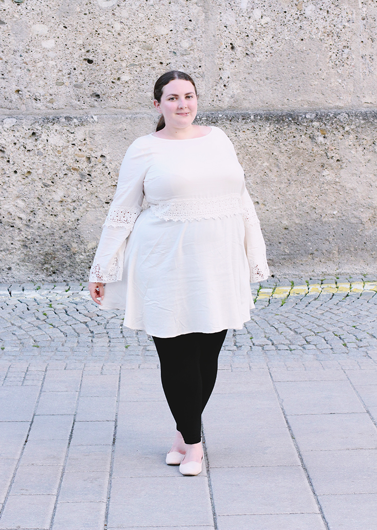 Plus size white crochet dress