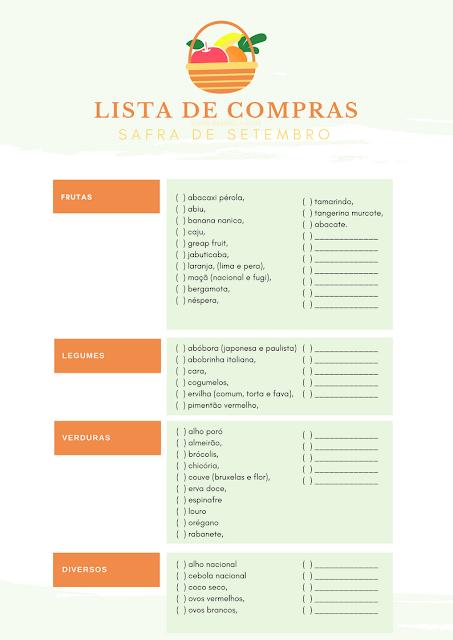 Bônus: lista de compras da safra de setembro com itens da estação para levar à feira e ao supermercado e facilitar suas compras.