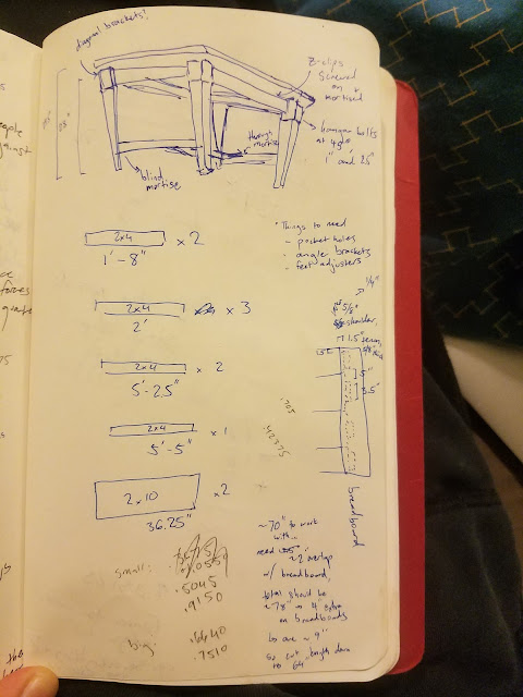 sketches of wooden part dimensions