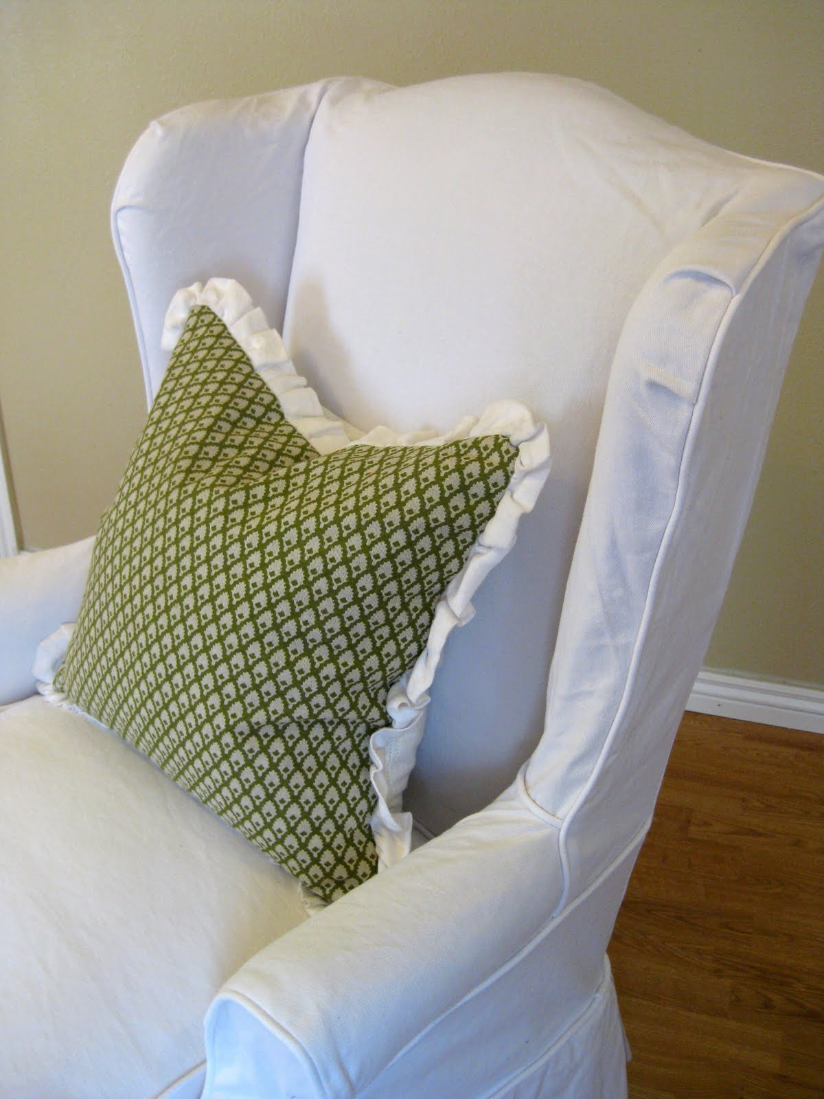 White Denim Wingback Chair Slipcovers By Shelley