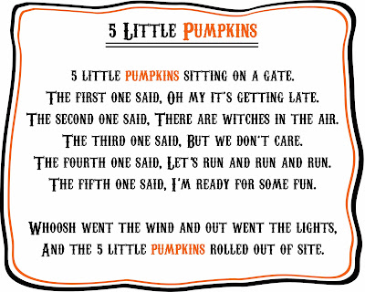 photo about 5 Little Pumpkins Printable named 5 Minimal Pumpkins Finger Puppets Tune - Liz upon Contact