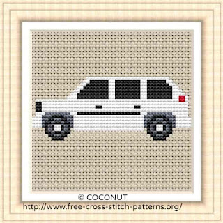 Car 1, Free and easy printable cross stitch pattern