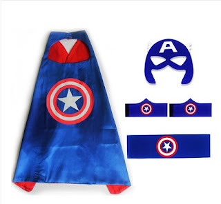 Superhero Captain America Costume Cosplay Cape mask wrist belt set dress up for kids