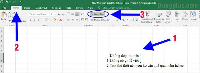 Xuống dòng tự động bằng Wrap Text