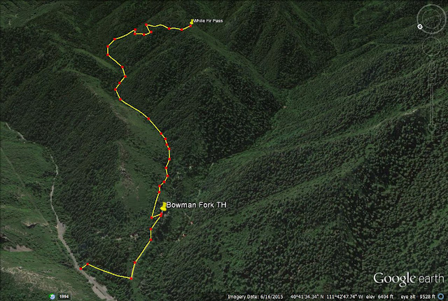 Bowman Fork Trail map, Millcreek Canyon, Utah